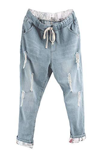 Tasche Strappati Esterno Vita Anni Coulisse Donna Elastico Denim Casual In Da Azzurro Con Jeans Frontali 20 Pantaloni CTHq5x0