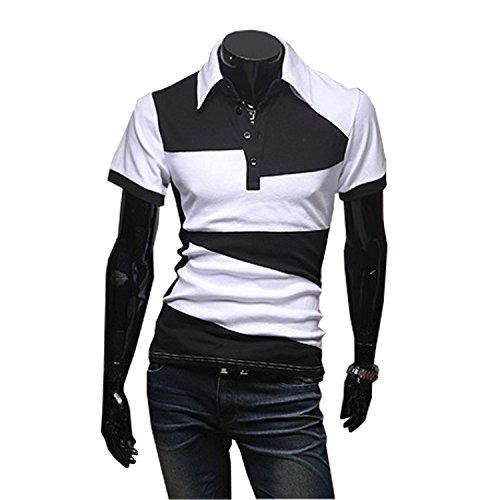 KMAZN ポロシャツ バイカラー 切替え メンズ 半袖 長袖 Tシャツ カジュアル スポーツ ゴルフ ゴルフウェア 春 夏