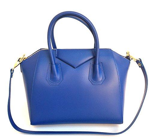 Rebecca Mini en main bleu en Model Lissé à Italie Sac cuir Fabriqué SUPERFLYBAGS véritable q8twgU6nz