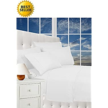 Elegance Linen® Wrinkle Resistant Luxury 6-Piece Bed Sheet Set - 1500 Thread Count Egyptian Quality Silky Soft #1 Rated Best Seller Sheet Set - Queen, White
