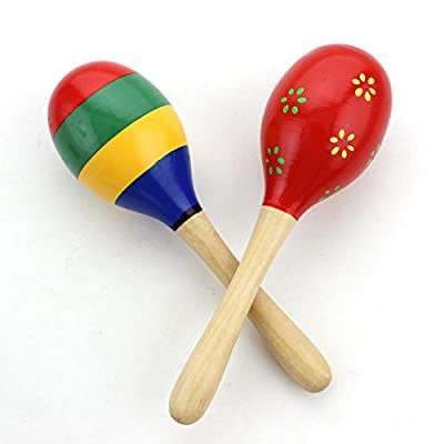 Zicome Kid's Wooden Maracas Rattle Shakers Musical Educational Toys, Set of 2 (Assorted Colors and Patterns) by Zicome