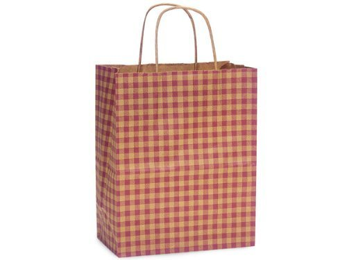 Nashville Wraps Shopping Gift Bag 25 Count - Kraft Gingham - Burgundy - Cub by Nashville Wraps