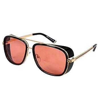 TONY STARK Iron Man Aviator Steampunk Men's Sunglasses (5.9| Red)