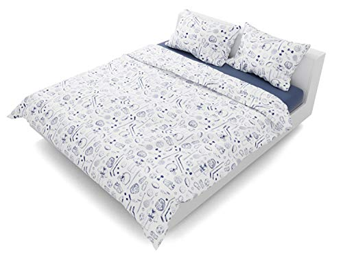 Where the Polka Dots Roam Sports Bedding Duvet Cover Full/Queen Size 3 Piece Set (Full Hockey Comforter)