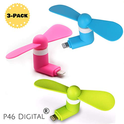 Mini Fans for iPhone - 3-Pack Bundle of Pink Blue and Green Fan for iPhone