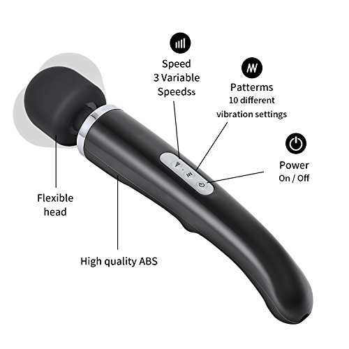 Personal Magic Cordless Wand Massager with 5 Speeds 10 Vibrating Massage for Body-Back Neck Shoulder Feet by YINGE (Image #1)