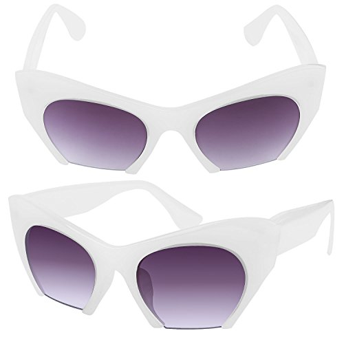 PrettyQueen Sunglasses Women Girls Sexy Cat's Eye shaped Sunglasses Fitness Drive Shopping Walking Running Bike Sports, White -
