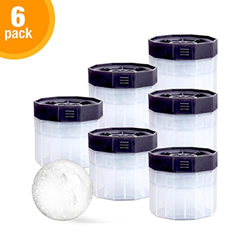 PREMIUM Ice Ball Molds (6-Pack), BPA Free 2.5 Inch Ice Spheres. Slow Melting Round Ice Cube Maker for Whiskey and Bourbon by BELLA AMAZING