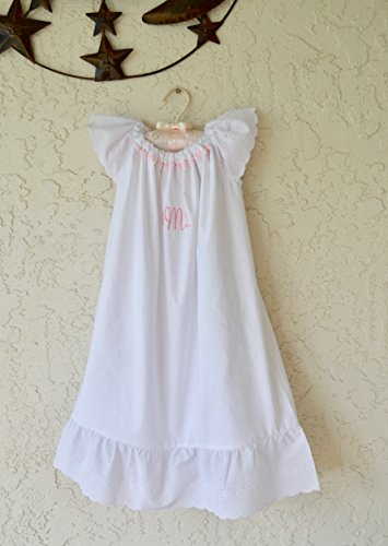 Personalized Infant Baptism dress gown in white with eyelet lace. (White Eyelet Name)