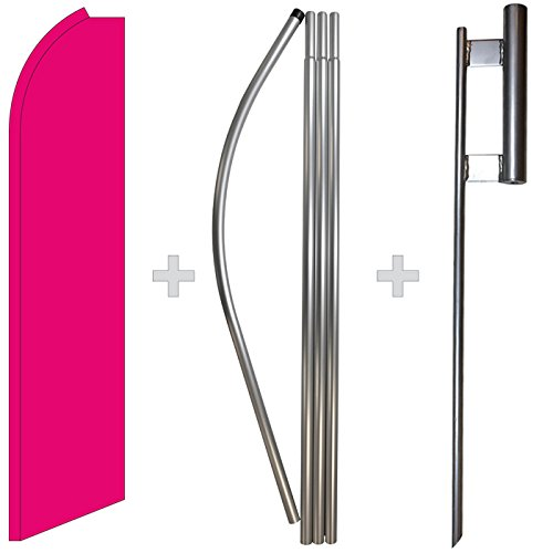(Solid Hot Pink Swooper Feather Flag, Flagpole, Ground Spike Kit)