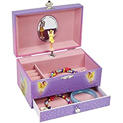 JewelKeeper Magnificent Fairy Music Jewelry Box with Pullout Drawer, Purple Jewelry Organizer with Dancing Fairy, Waltz of the Flowers Tune