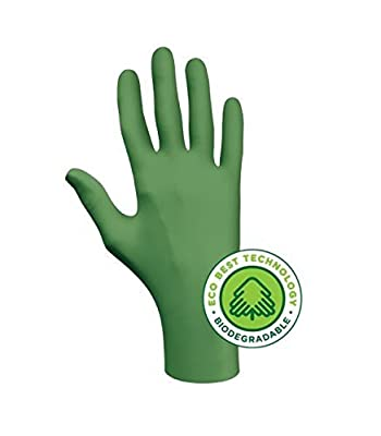 """Showa Best 6110PFM GreeN-DEX Biodegradable Industrial Grade Nitrile Glove, Disposable, Powder-Free, 4 mil Thickness, 9-1/2"""" Length, Medium, Green (Pack of 100)"""