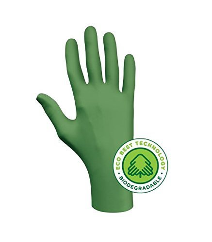 SHOWA 6110PFM GreeN-DEX Biodegradable Industrial Grade Nitrile Glove, Disposable, Powder-Free, 4 mil Thickness, Medium (1 box)