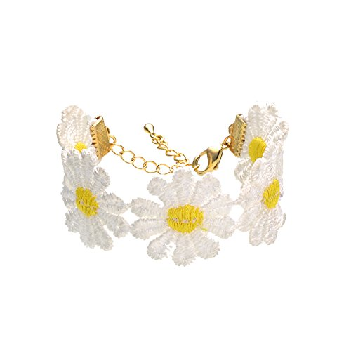 Daisy Lace Bracelet Rose Gold Plated Delicate White Yellow Flower Fashion Jewelry For Women Girls ()