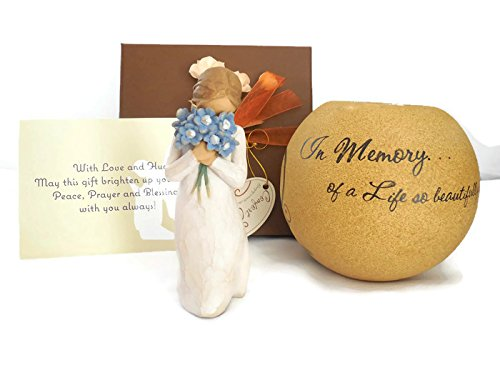 Willow Tree Forget Me Not Figurine Bundle With Pavilion Comfort Candles 5-Inch Round Tea Light Holder, An Ideal Sympathy-Condolence Gifts For Loss of Loved One