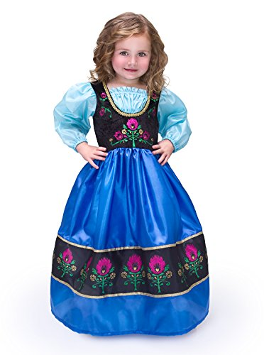 [Little Adventures Traditional Scandinavian Princess Girls Costume - X-Large (7-9 Yrs)] (Ariel Blue Dress Costumes)