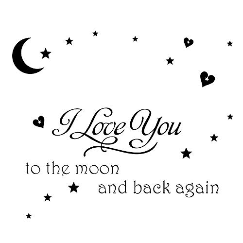 - Homefind I Love You to the Moon and Back Again Wall Saying Decals Good Night Removable Vinyl Art Quote Stickers for Kids Room Living Room Bedroom Nursery Black 23.6