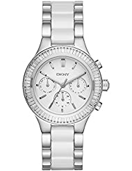 DKNY Womens Chambers Quartz Stainless Steel and Ceramic Casual Watch, Color:Silver-Toned (Model: NY2497)