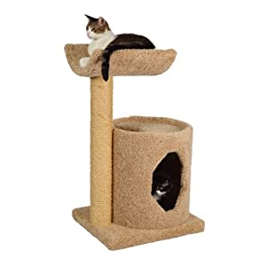 "Molly and Friends ""Cradle Condo Premium Handmade 2-Tier Cat Tree with Sisal, Model 36, Beige"