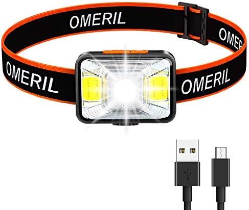 OMERIL Linterna Frontal LED USB Recargable, Linterna Cabeza Muy Brillante, 5 Modos de Luz (Blanco y Rojo), IPX5 Impermeable, Mini Frontal LED para Correr, Acampar, Pescar, Ciclismo, Camping, Niños
