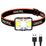 OMERIL-Lampada-Frontale-LED-USB-Ricaricabile-Torcia-Frontale-con-5-Modalita-di-Illuminazione-Luce-da-Testa-IPX5-Impermeabile-Luce-Frontale-Adatto-a-Bambini-e-AdultiCampeggioCorsaPescaCiclismo