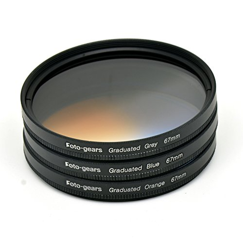67mm Graduated Colour Filter set Graduated Grey + Blue + Orange Filter Kit by Foto-gears