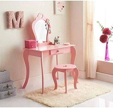 Ensemble coiffeuse Amelia avec tabouret et miroir pour chambre d\'enfant,  rose