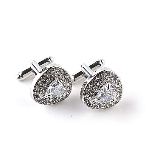 MINGHUA Fashion Round Zircon with Multiple Crystal Luxury Personality 2 PCS Mens Shirts Cufflinks (Heart -