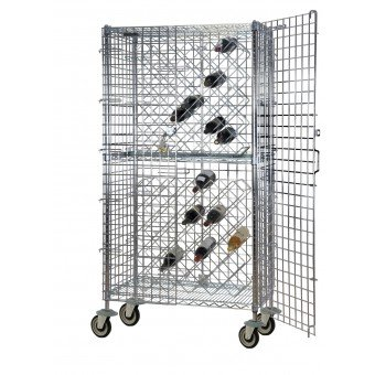 UPC 843018009753, Focus Foodservice FDSWR2436CH Stationary security wine rack with 8 each 24 in. x 36 in. double wine shelves. Holds 144 bottles. Chromate finish. 24 in. x 36 in. cage