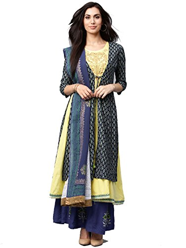Multicolor Cotton Fabric Womens Front Slite Embroidered Salwar Suit Readymade (Salwar Suits for Women) (M, Yellow-Green)