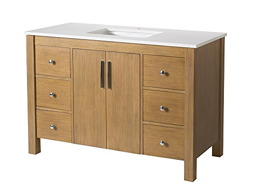 "Stufurhome TY-7585-49-QZ Single Sink Bathroom Vanity Set, 49"" - Solid wood construction Rectangular undermount porcelain basin Dtc soft-closing drawers - bathroom-vanities, bathroom-fixtures-hardware, bathroom - 41uEVGhgI1L -"