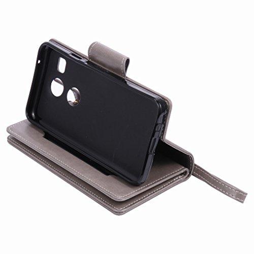 Yiizy LG Nexus 5X Funda, Chica Repujado Diseño Solapa Flip Billetera Carcasa Tapa Estuches Premium PU Cuero Cover Cáscara Bumper Protector Slim Piel Shell Case Stand Ranura para Tarjetas Estilo (Gris)