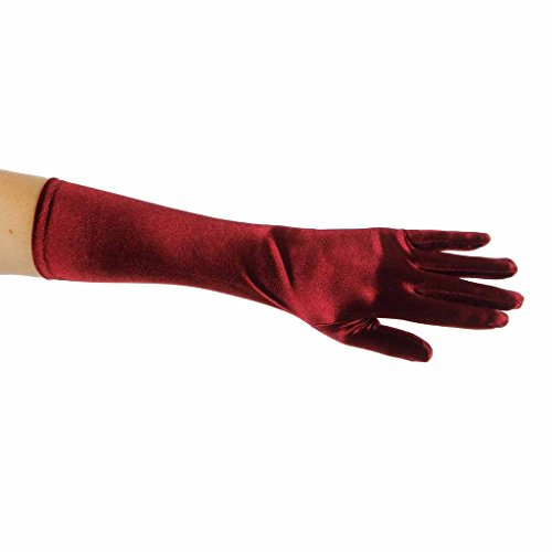 Showstopper Shiny Satin Elbow Length Gloves for Girls (Wine, 4-7) by Greatlookz Fashion