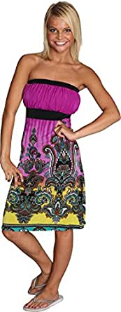 Alki'i Paisley Print Casual Evening Party Tube Cocktail Dress - Purple L/XL