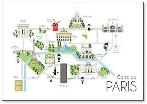 Amazon Com Cartoon Map Of The City Of Paris France Travel Illustration Classic Fridge Magnet Kitchen Dining