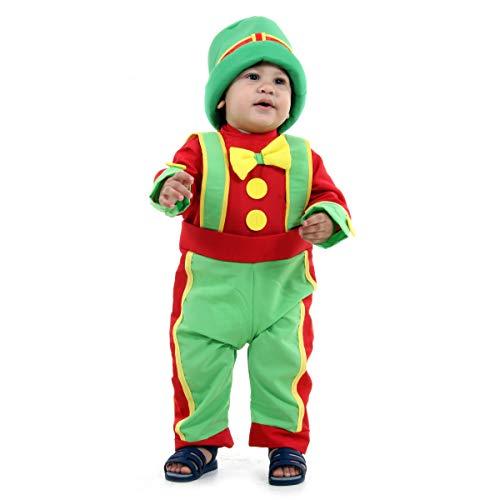 Fantasia Patatá Bebê 915601-P, Verde/Vermelho/Amarelo, Sulamericana Fantasias