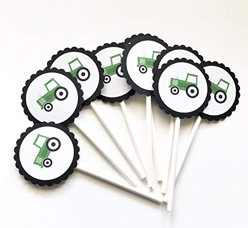 Tractor Cupcake Toppers - Set of 12 -