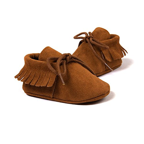 ESHOO Lovely de primera Walking zapatos de borla borla de zapatillas para bebé Prewalker Dark Coffee Talla:0-6 meses Dark Coffee