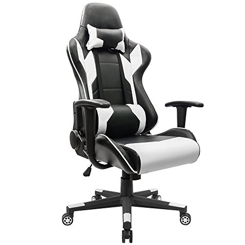Homall Gaming Chair Racing Office Chair High Back Computer Desk Chair PU Leather Chair Executive and Ergonomic Swivel Chair with Headrest and Lumbar Support (White)