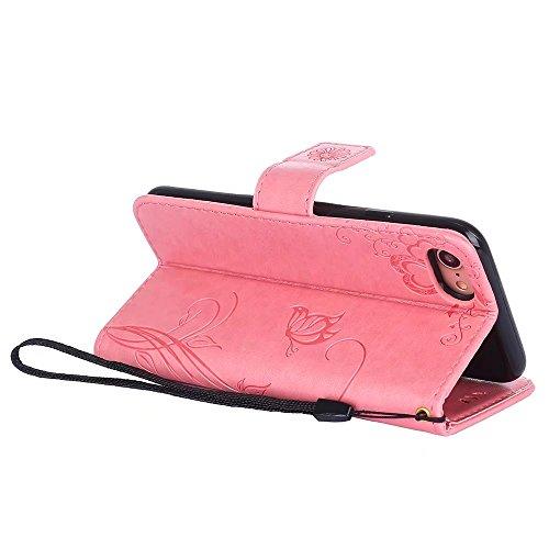 SRY-Caso sencillo Color sólido en relieve flores patrón de protección de la cartera Funda de la caja de la bolsa con ranura y ranuras de tarjeta para el iPhone 7 Protección reforzada ( Color : Blue ) Pink
