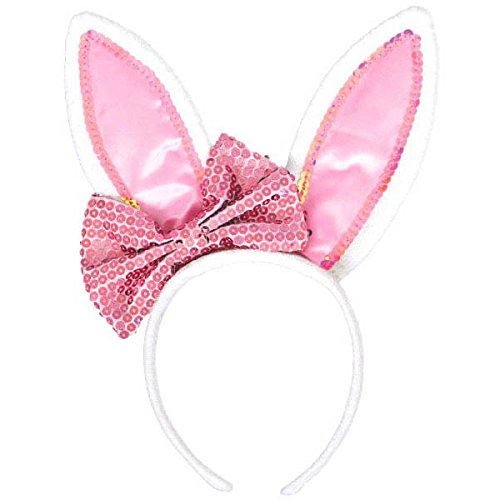 Bunnies Pink Fluffy (Amscan Fluffy Easter Bunny Ears with Bow Party Accessory Kit)