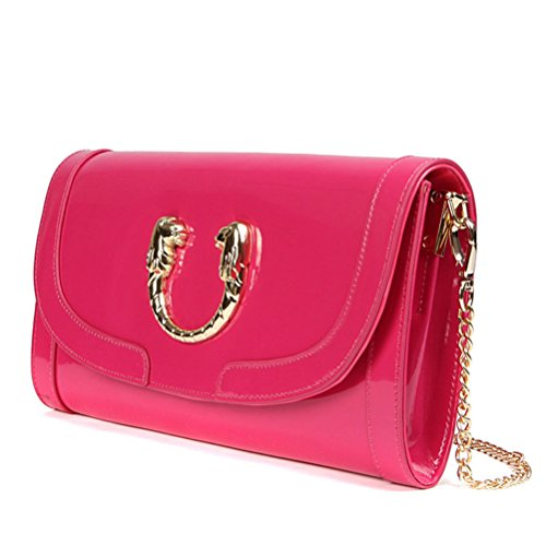 Paste Women's Split Leather Fashional Clutch Bag Chain Cross Body Strap Satchel 3p0361-rose Red