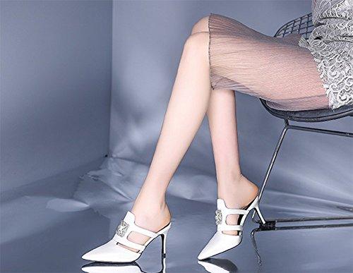Blanc Mode Pantoufles Pointu Talon Haut Sandales Talon Mesdames weiwei Zq8x7Sq