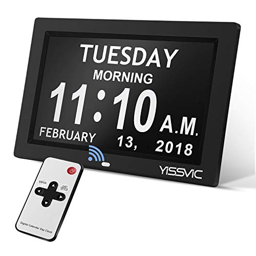 YISSVIC Day Clock 9 Inches Digital Frame Clock with Day and Date for Elderly with 12 Alarm Options USB Charging Port Full Clock Reading Non-Abbreviated Date