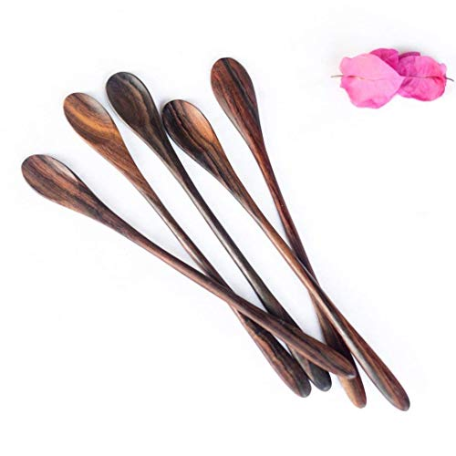 Bali Harvest Set of 5 Handmade Long Wooden Spoons | Rosewood | Eco Friendly | Juice Stirrer | Cocktail Spoons | Coffee Tea Spoons | Vegan Gift | Natural Finishing ()