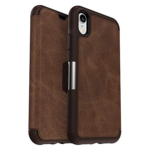 OtterBox Strada Series Case for iPhone XR - Retail Packaging - Espresso (Dark Brown/Worn Brown Leather) (Wallet Box Otter Phone)