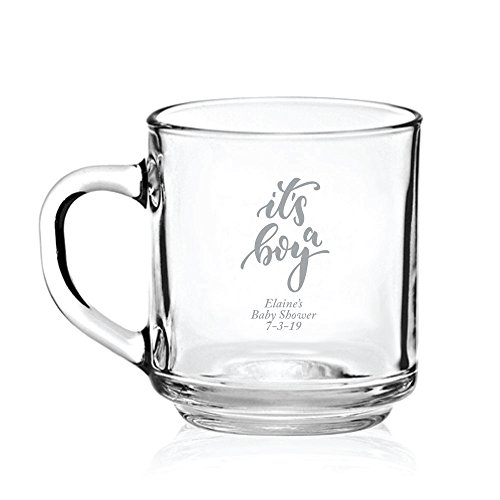 Personalized Color Printed Glass Coffee Mug - It's a Boy - Silver - 24 pack by Abby Smith