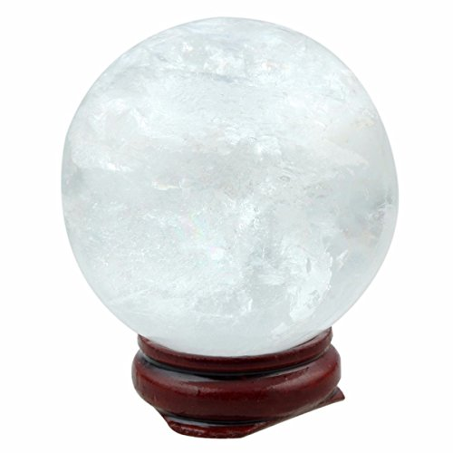 mookaitedecor Natural Crystal Ball with Wood Stand,Healing Crystals Sphere Sculpture Home Decoration(Rock ()