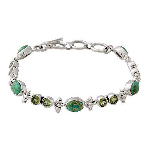 (NOVICA Multi-Gem Reconstituted Turquoise .925 Sterling Silver Link Bracelet, 7.75