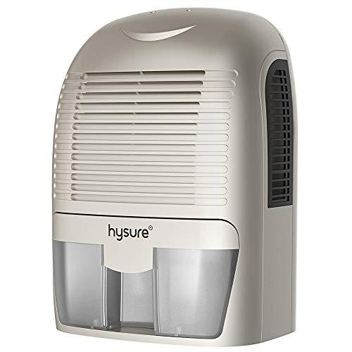Hysure Quiet and Portable Dehumidifier Electric,Deshumidificador, Home Dehumidifier for Bathroom, Crawl Space, Bedroom, RV, Baby Room, White Silver
